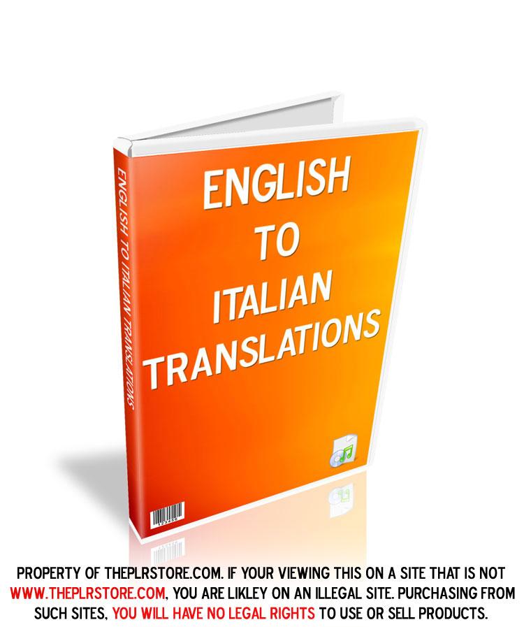 Translate From Italian To English: English To Italian PLR Audio Translations