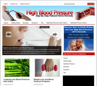 High Blood Pressure PLR Website high blood pressure plr website cover 327x289