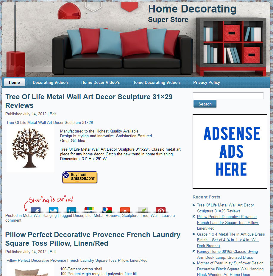 Home Store Website: Home Decor PLR Amazon Store Website