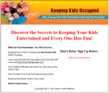 keep-kids-occupied-plr-autoresponder-series-squeeze-page
