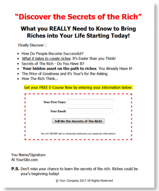 secrets of the rich plr autoresponder messages