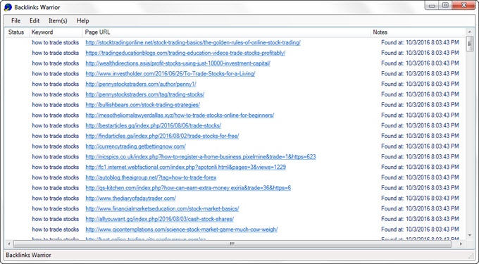 And here's all the backlinks that were found: