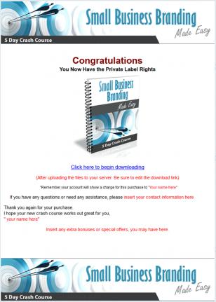 small business branding plr autoresponder messages