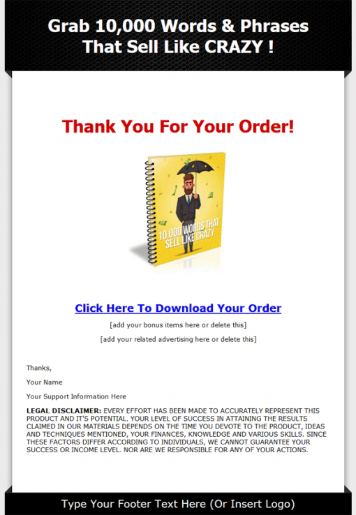 10,000 Words That Sell Like Crazy PLR eBook
