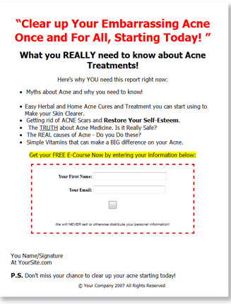 acne treatment plr autoreponder messages