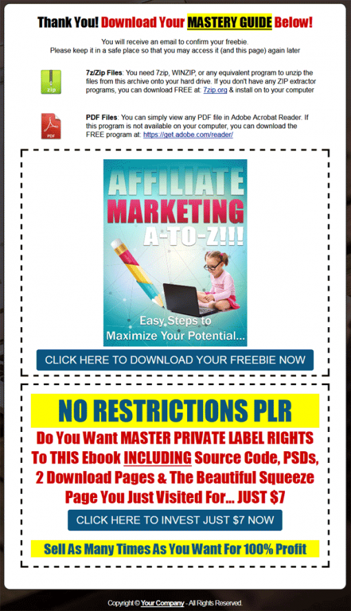 Affiliate Marketing A to Z PLR Ebook