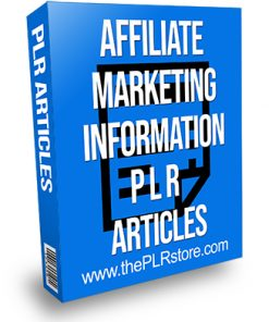 Affiliate Marketing Information PLR Articles