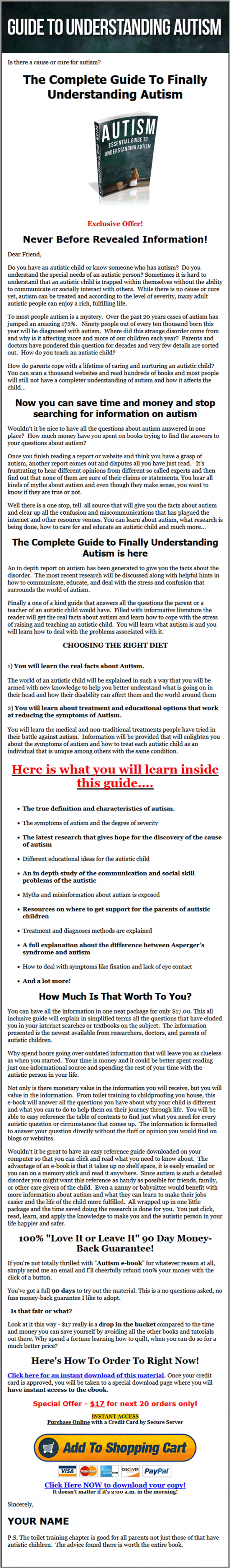 Autism MRR eBook with Master Resale Rights