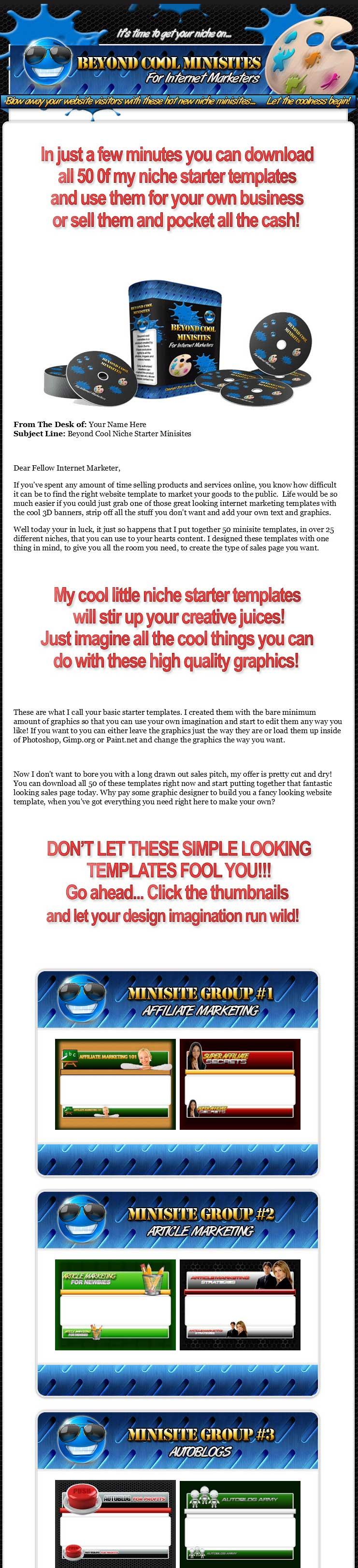 Beyond Cool Minisites Website Templates MRR