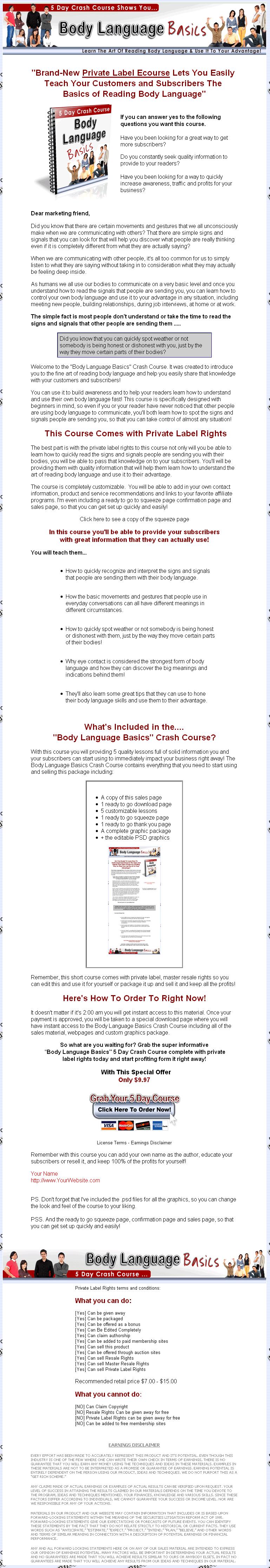 Body Language Basics Autoresponder Messages Series PLR