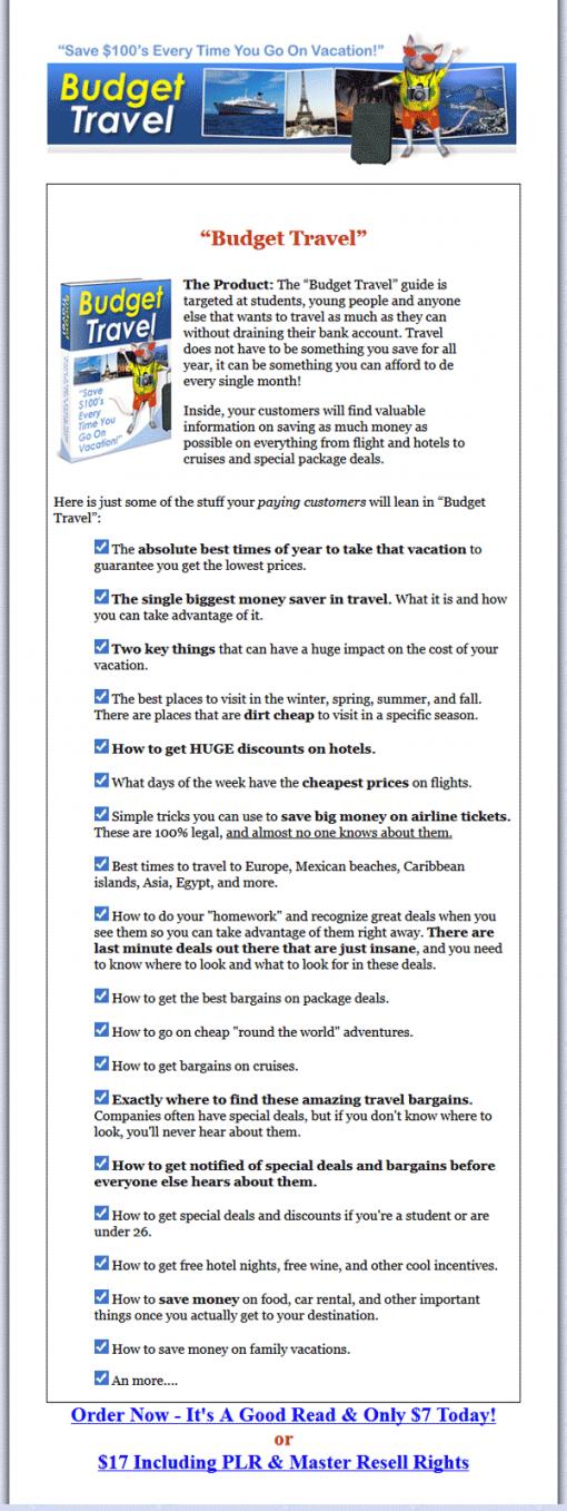 Budget Travel PLR Ebook