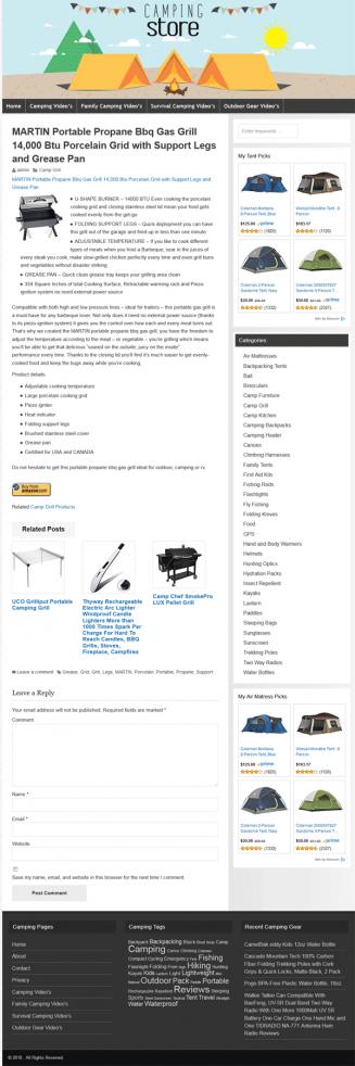 Camping PLR Amazon Affiliate Website