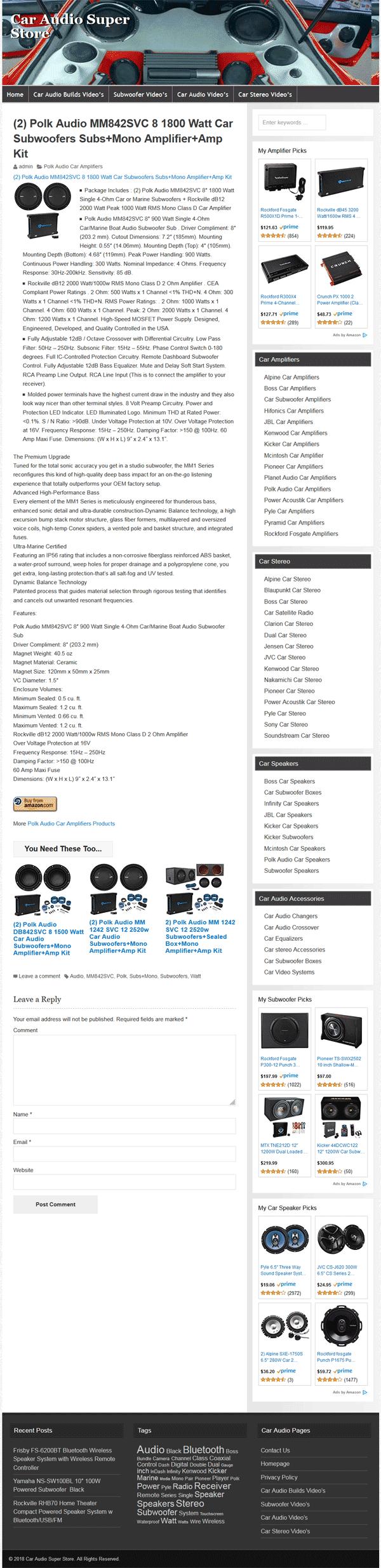 Car Audio PLR Amazon Store Website