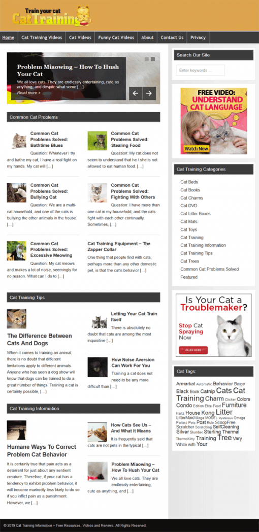 Cat Training PLR Website