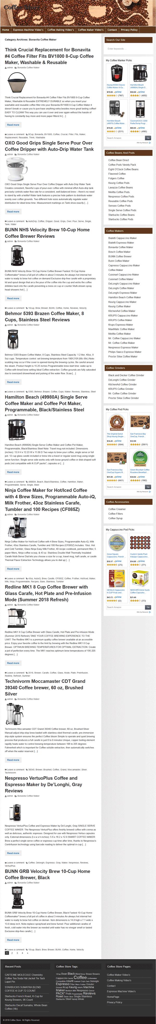 Coffee PLR Amazon Turnkey Store Website