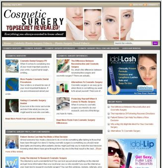 Cosmetic Surgery PLR Website with Private Label Rights cosmetic surgery plr website main 327x339