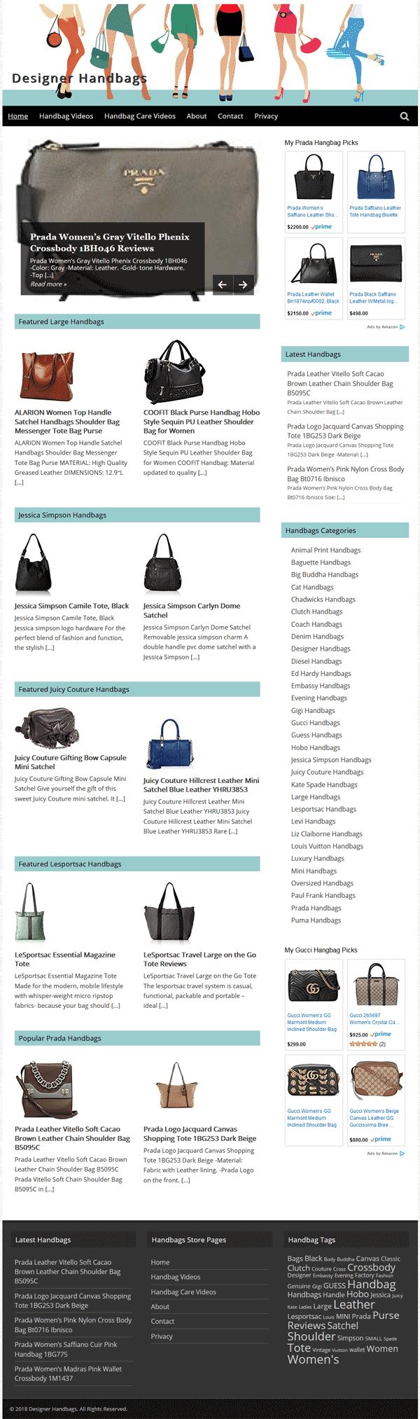 Designer Handbags PLR Amazon Store Website