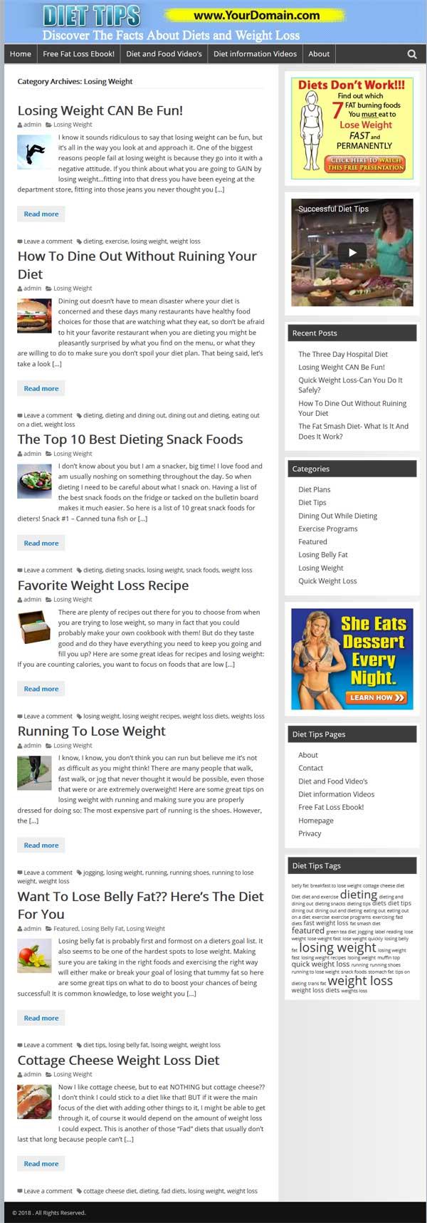 Diet Tips PLR Website