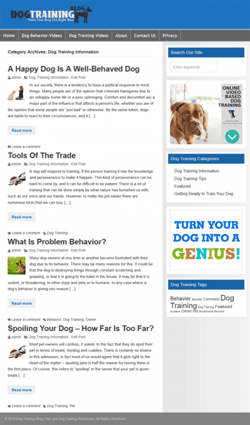 Dog Training PLR Website