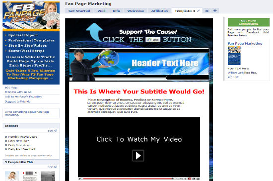 Facebook Fan Page PLR Templates - Facebook video template