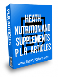 Health nutrition and supplements plr articles