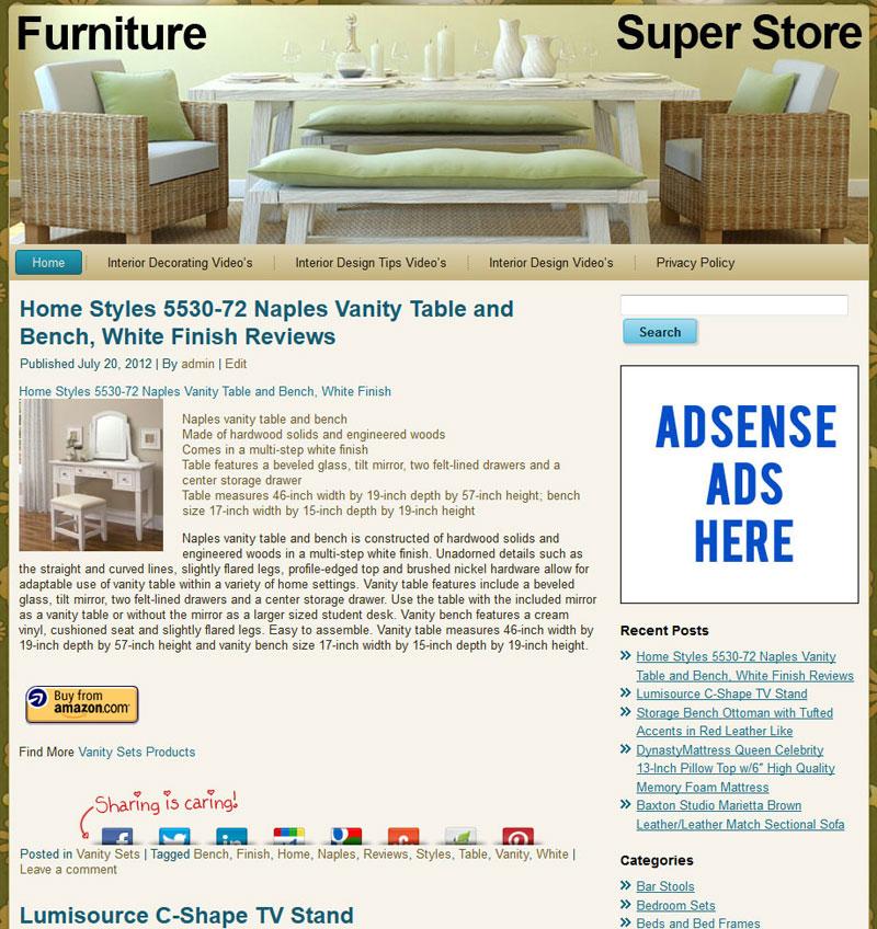Furniture Stores Websites: Home Furniture PLR Amazon Store Website Pre-Loaded
