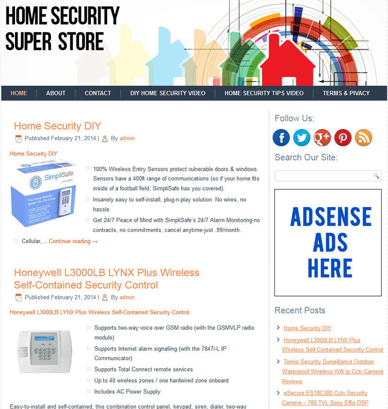 Home Security PLR Amazon Store Website