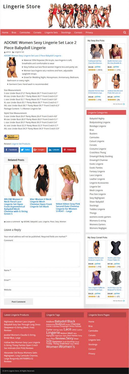 Lingerie PLR Amazon Store Website