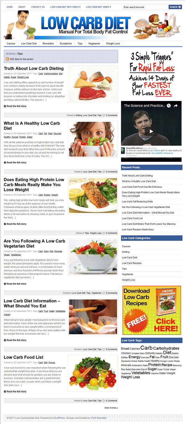 Low Carb Diet PLR Website