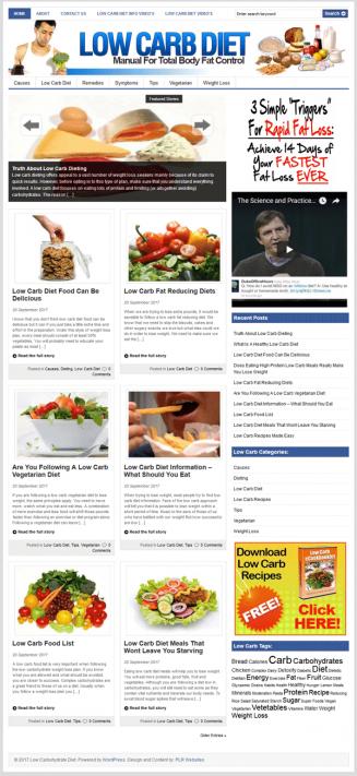 Low Carb Diet PLR Website