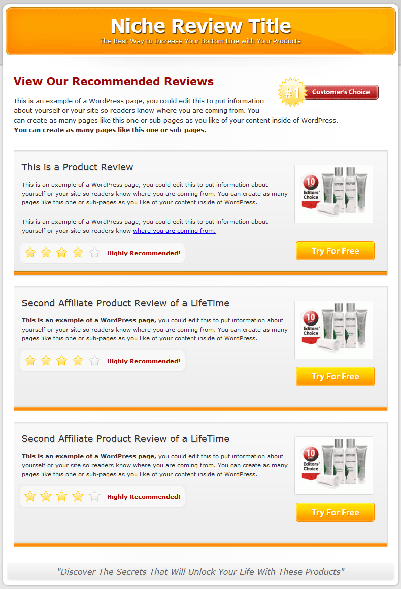 Multi Product Review Website Templates Mrr