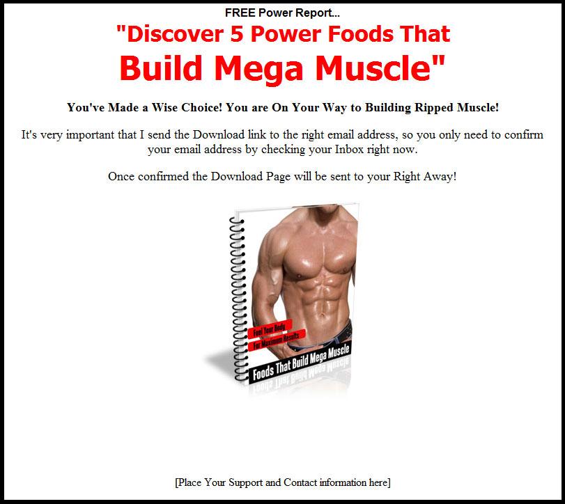 5 Foods That Build Mega Muscle PLR Listbuilding Set
