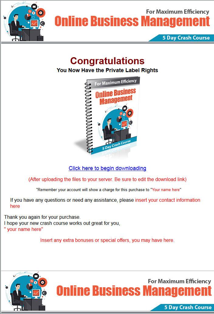 Online Business Management PLR Autoresponder Package