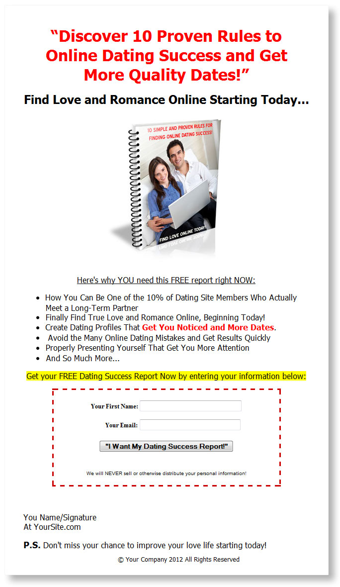 Online Dating PLR List Building Package with Private Label Rights