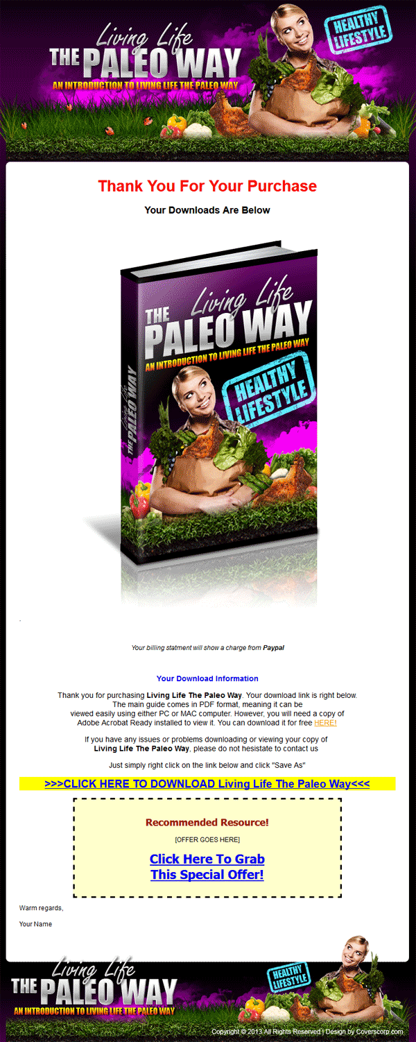 paleo diet plr website