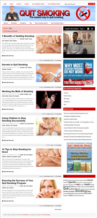 quit smoking plr website