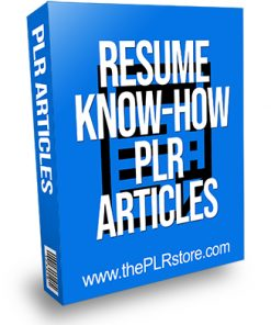 Resume Know How PLR Articles