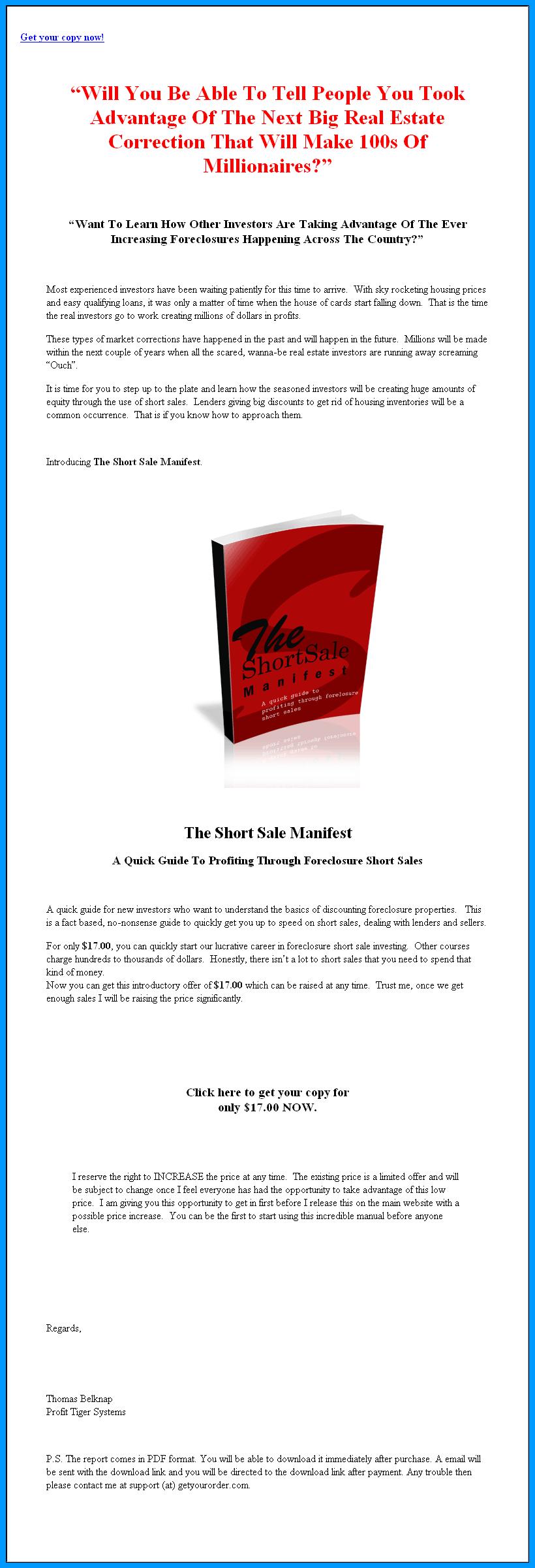 Short sale manifest mrr ebook foreclosure 699 thecheapjerseys Gallery