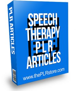 Speech Therapy PLR Articles