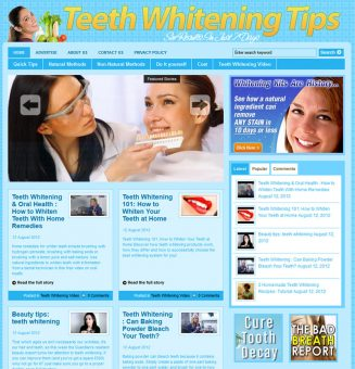 Teeth Whitening Tips PLR Website with Private Label Rights teeth whitening tips plr website main 327x340
