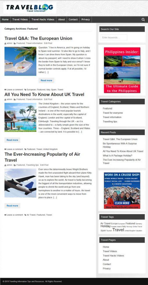 Travel PLR Website