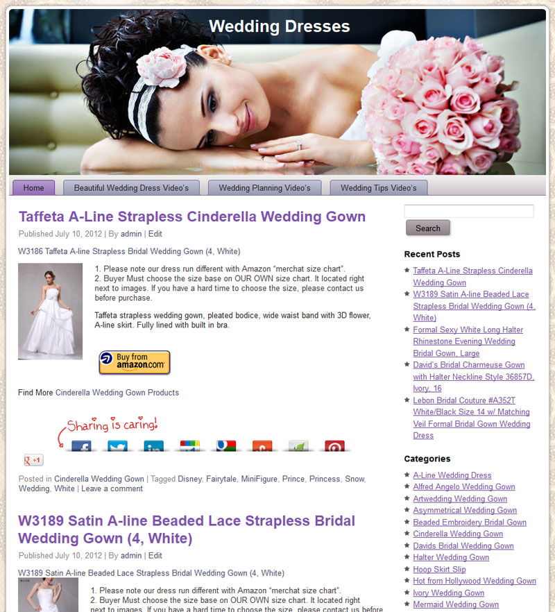 Wedding Dress PLR Amazon Pre-Loaded Store Website |