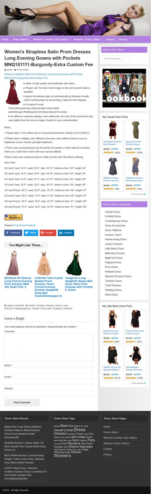 Womens Dress PLR Amazon Store Website