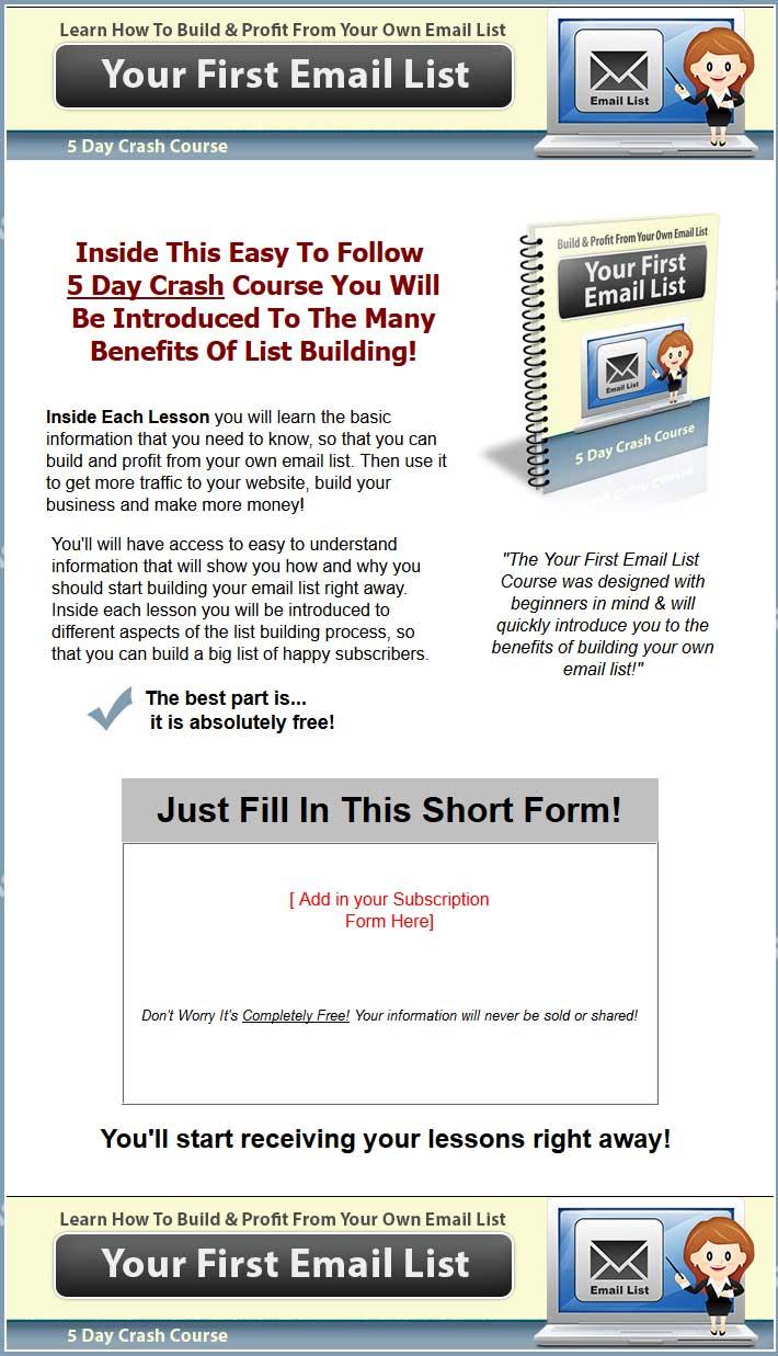 Your First Email List Plr Autoresponder Series
