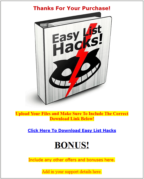 easy list hacks plr rbook