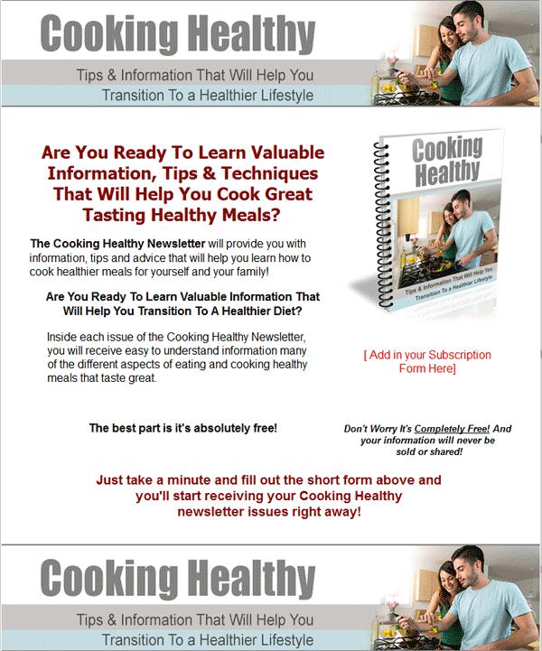 cooking healthy plr autoresponder messages