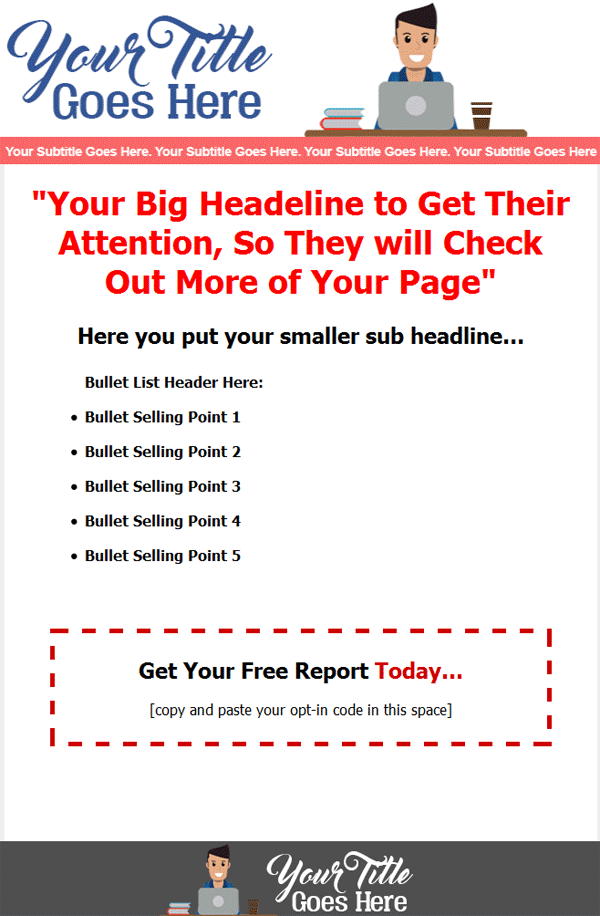 sales page squeeze page website template
