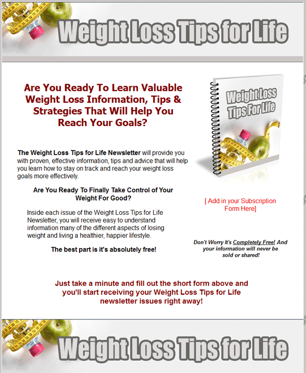 Tips For Effective Weight Loss: Weight Loss Tips PLR Autoresponder Messages With Private