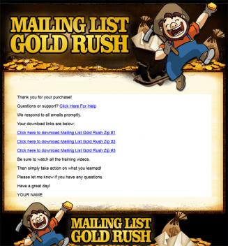 mailing list gold rush plr videos