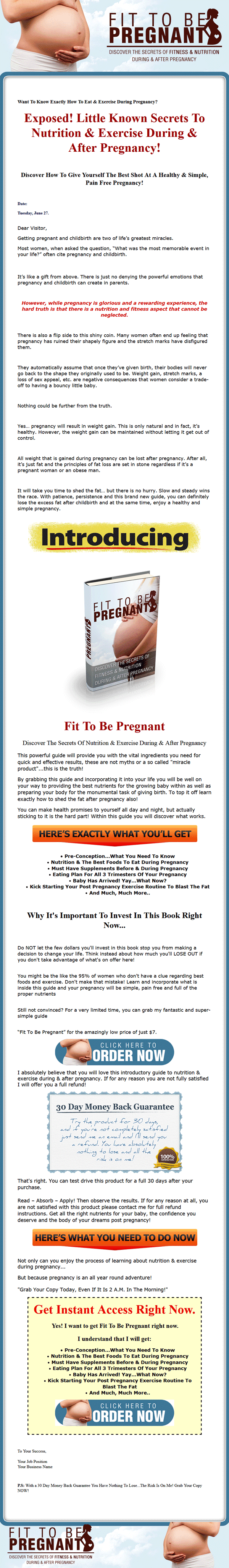 Pregnancy Fitness Ebook and Audio with Master Resale Rights